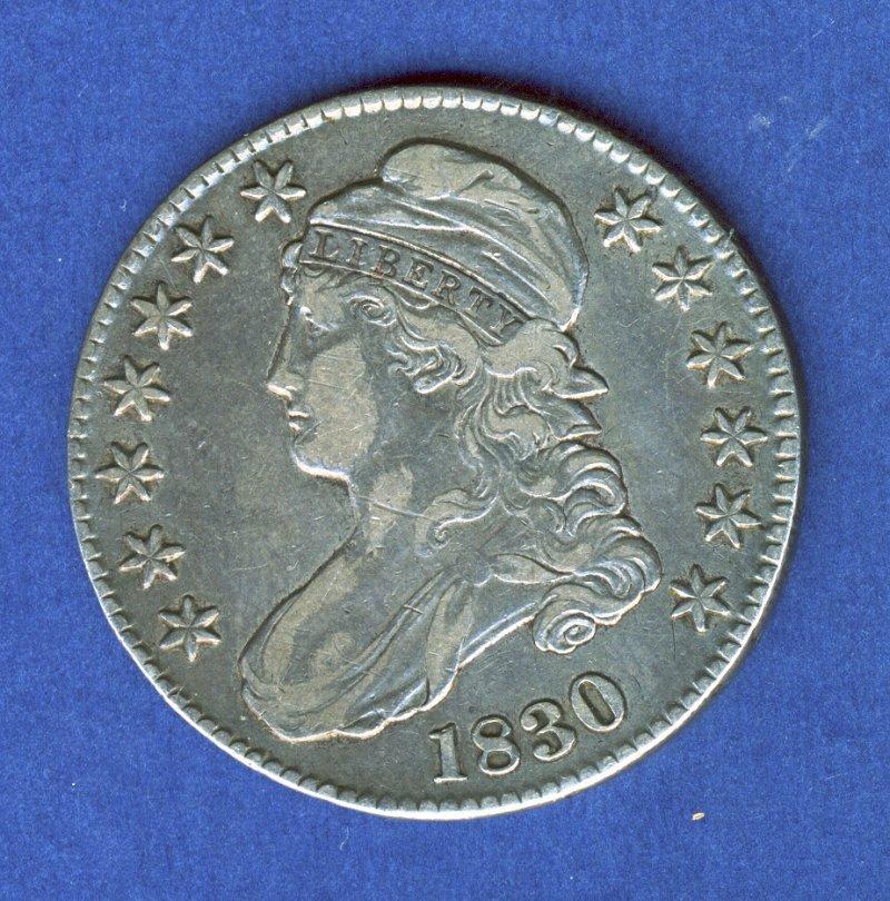1830 XF/AU CAPPED BUST HALF DOLLAR .50 CENT