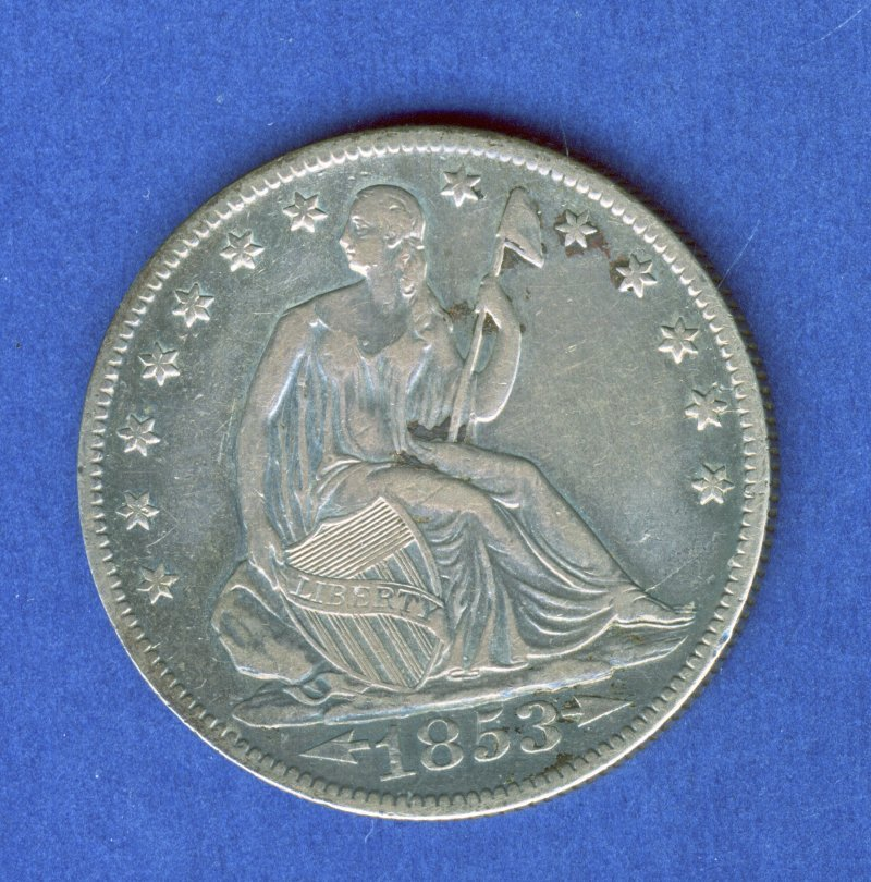 1853-O SEATED LIBERTY .50C HALF DOLLAR NO DRAPERY