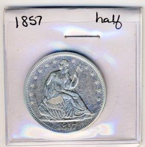 1857 SEATED LIBERTY 50 CENT HALF DOLLAR BU CLEANE