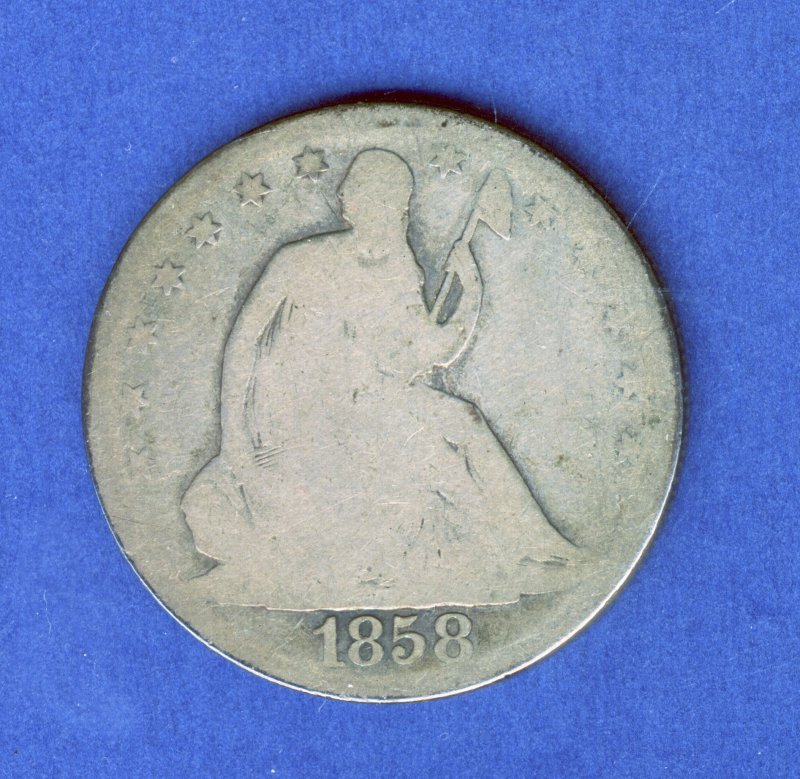 1858-O SEATED LIBERTY .50C HALF DOLLAR AG ALMOST