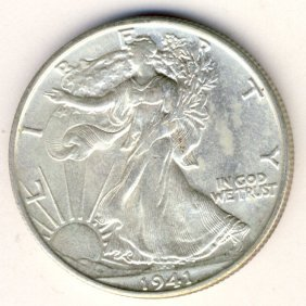 1941S WALKING LIBERTY 50c CHOICE BU LUSTROUS COIN