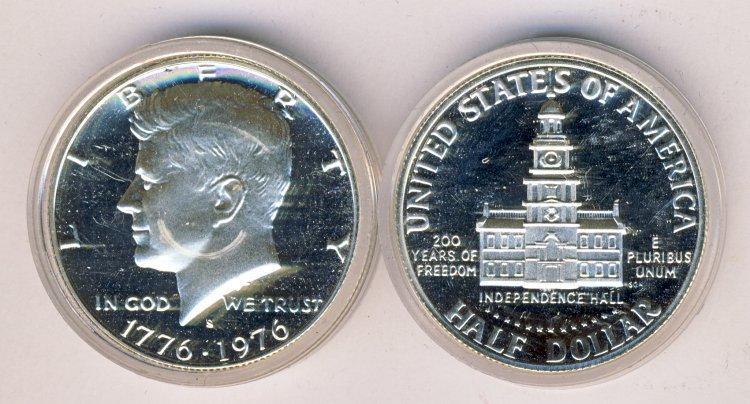 1976 SILVER PROOF KENNEDY .50C HALF DOLLAR IN CAP
