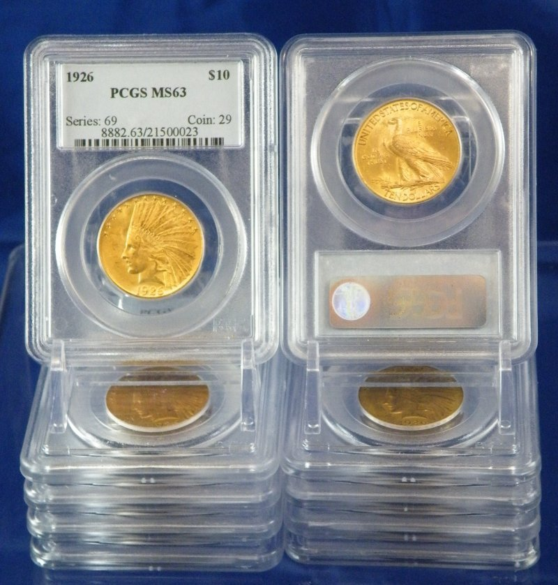 GOLD $10 US PRE 1933 PCGS MS63 INDIAN 10 COINS