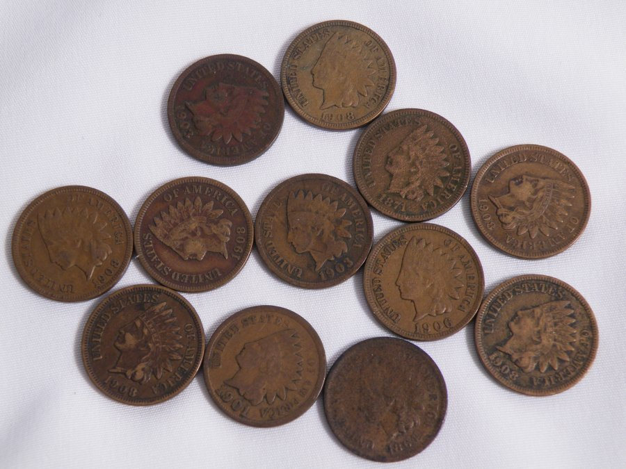 12 INDIANHEAD 1C CENT MIXED DATE FOR CHARITY