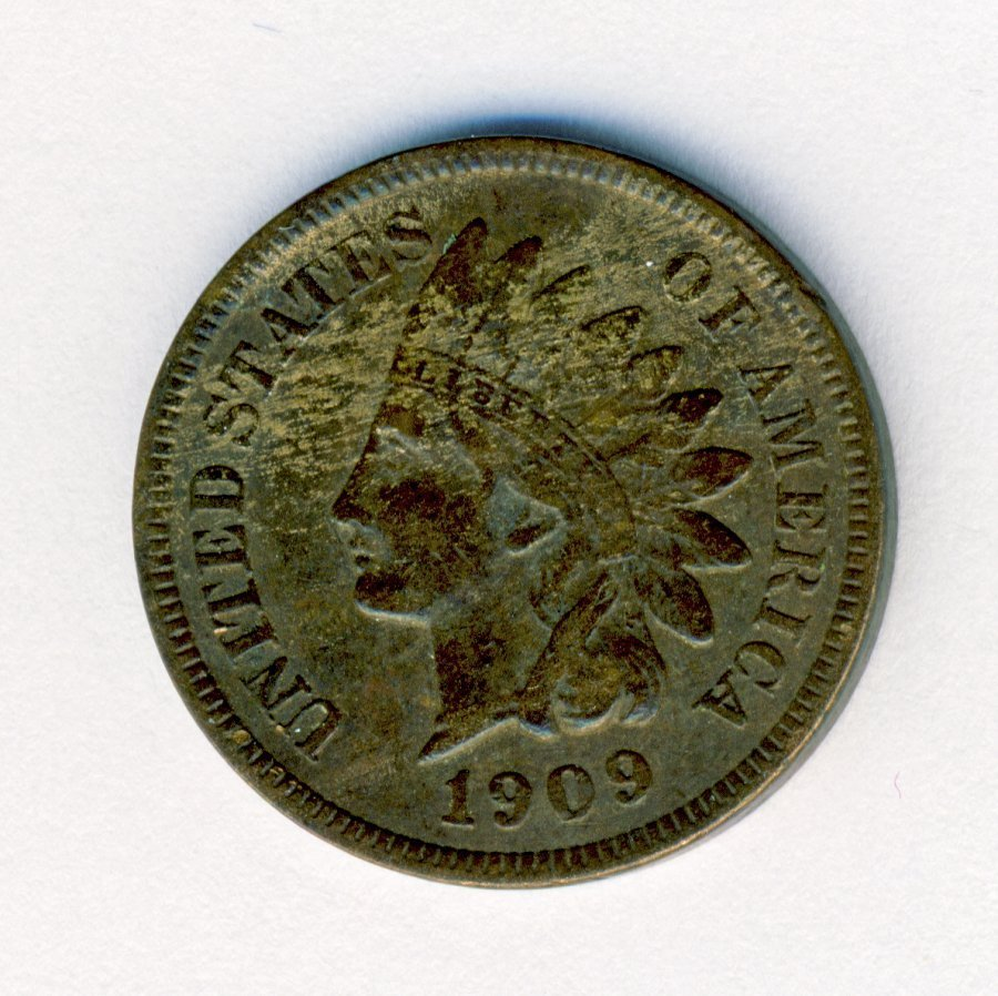 1909-S INDIANHEAD 1C CENT VF CONDITION