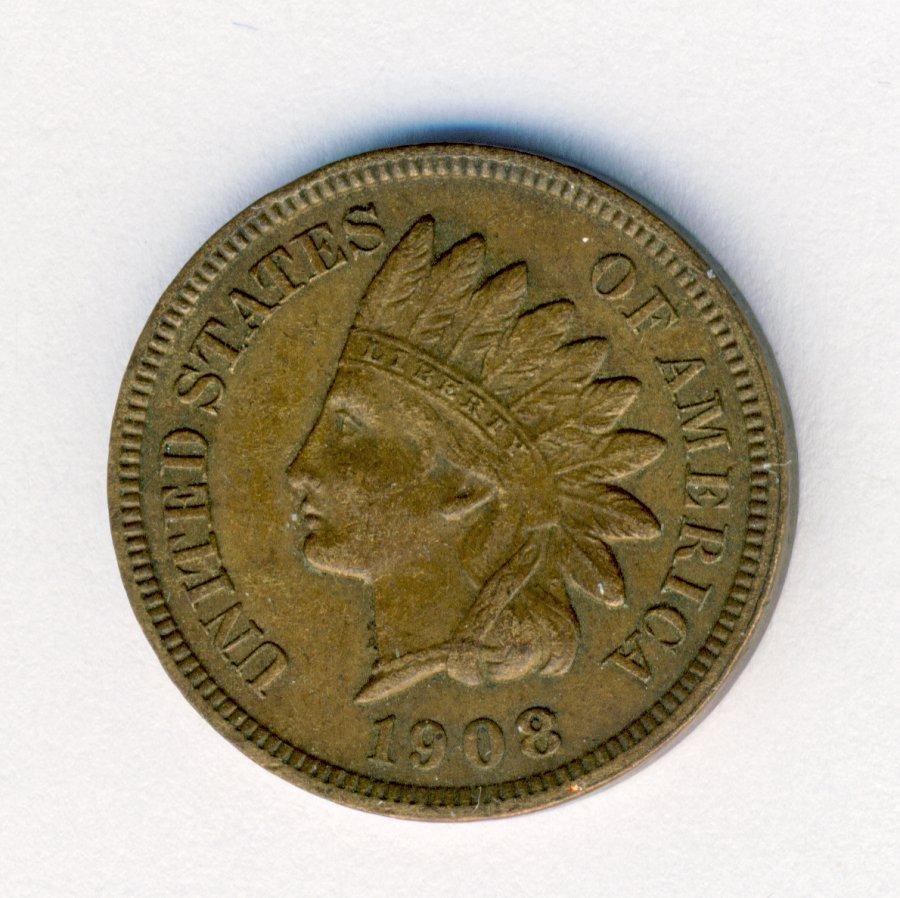 1908-S INDIANHEAD 1C-CENT AU CONDITION