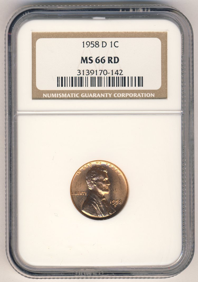 1958-D LINCOLN 1c NGC MS66 LAST YEAR WHEAT RED