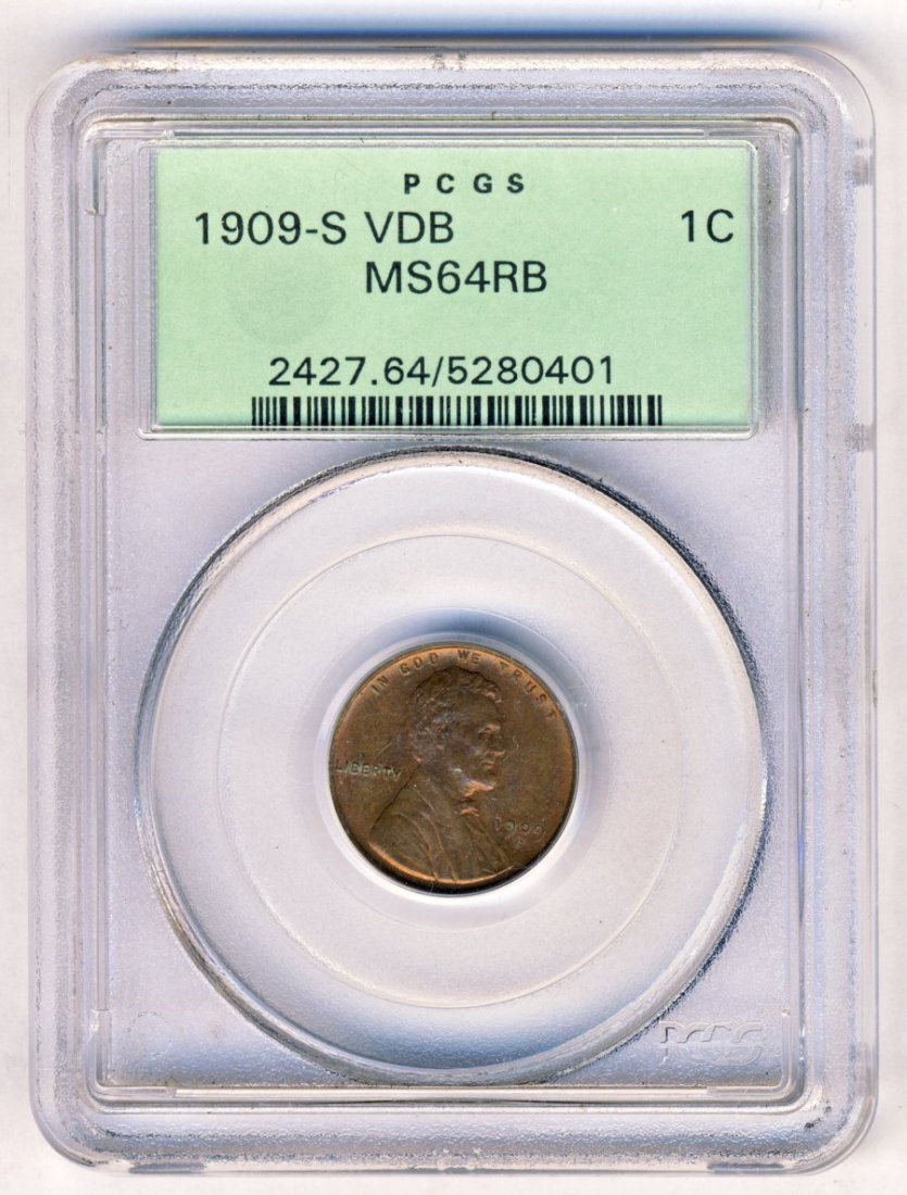 OLD GREEN PCGS HOLDER 1909-S VDB LINCOLN 1C MS64
