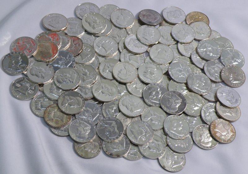 (100) 90% SILVER RARE PROOF FRANKLIN HALF DOLLARS