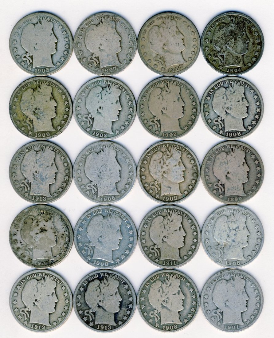 BARBER HALF DOLLARS 20 COINS AVERAGE CIRCULATED R