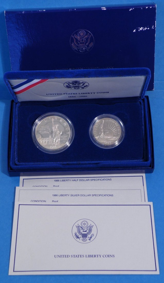 1986 UNITED STATES LIBERTY COINS 2PC SET