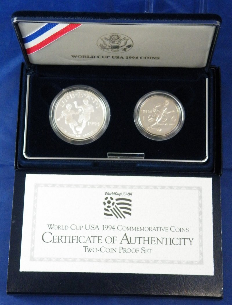 1994 WORLD CUP USA PROOF SILVER COINS 2PC SET