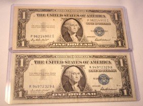 6: LOT OF TWO $1 SILVER CERTIFICATES