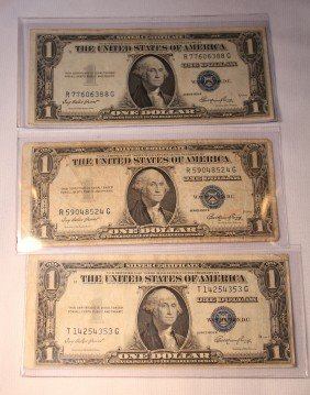 LOT OF THREE $1 SILVER CERTIFICATES