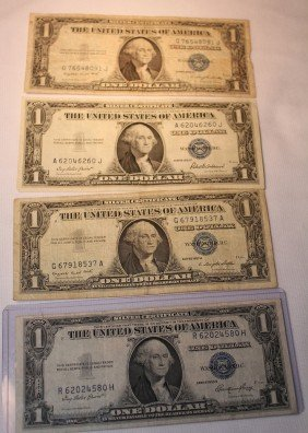 8: LOT OF FOUR $1 SILVER CERTIFICATES