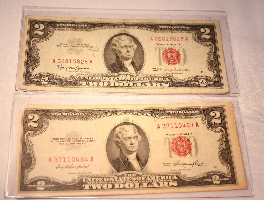9: LOT OF TWO RED SEAL $2 SILVER CERTIFICATES