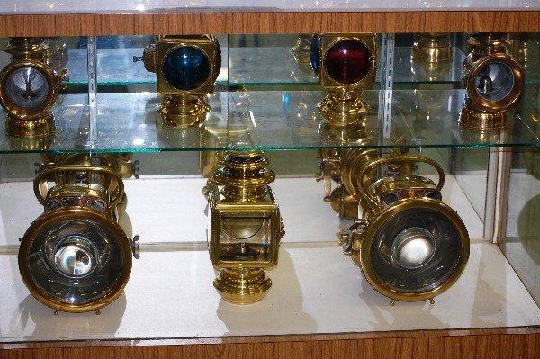 205: Brass Light Collection:  (2) Motorlite Headlamps,