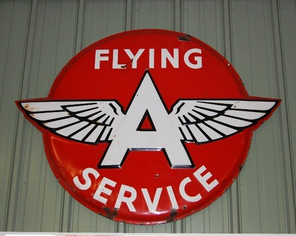 212: Metal Sign:  Flying A Service (Red/Wht)