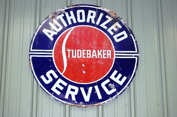 213: Metal Sign:  Studebaker, Authorized Service (Blue/