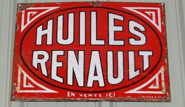 214: Metal Sign:  Huiles Renault (Red)