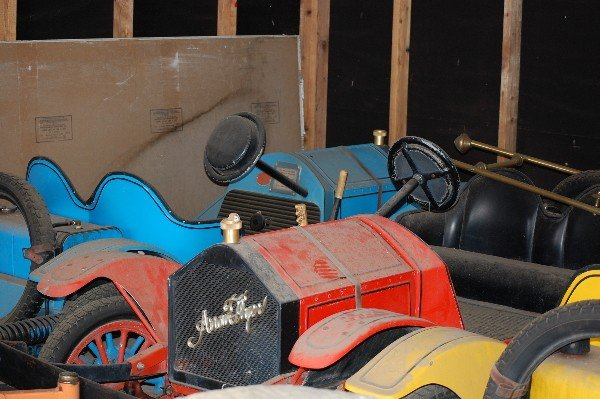 219: (4) Children Toy Ride Cars with 1/4 Mile Steel Tra