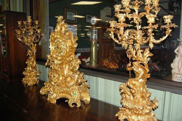 322: Clock, (2) Candelabra - Ornate Cast Iron Set