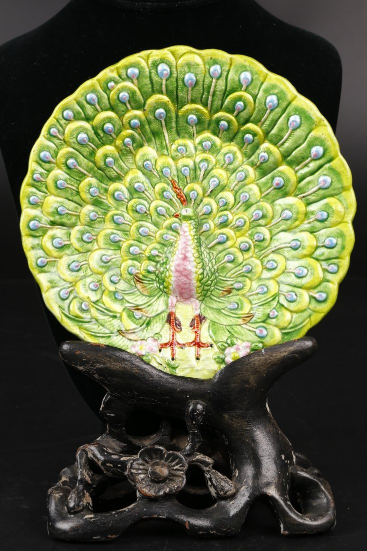 Copper Enameling Peacock Plate.
