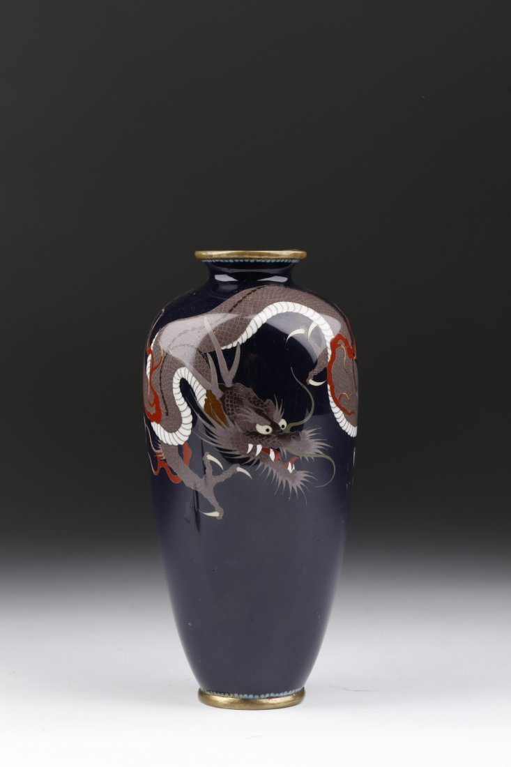 19Th Japanese Filigree Dragon Cloisonné Vase.