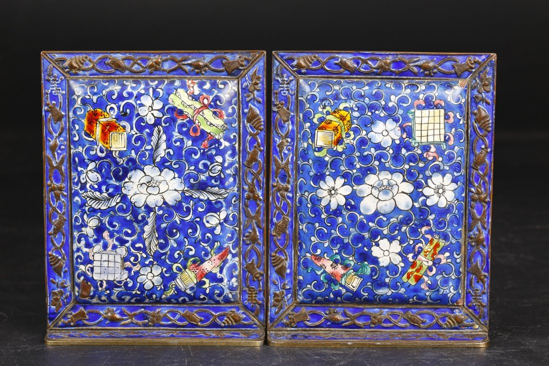 A Pair of Cloisonne Book Ends.