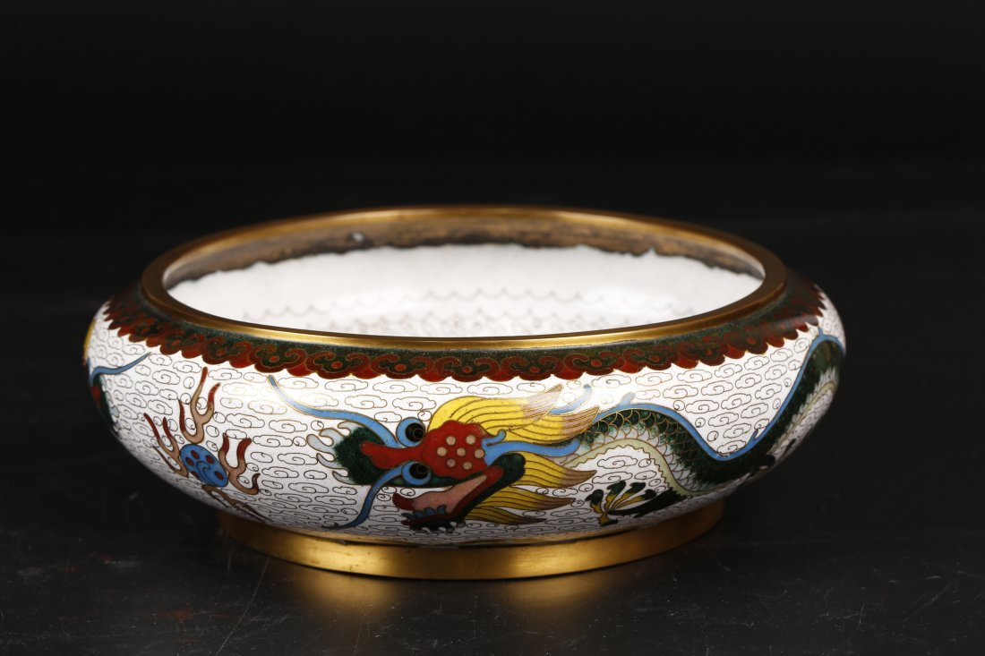 Antique Cloisonne Wash Pot.