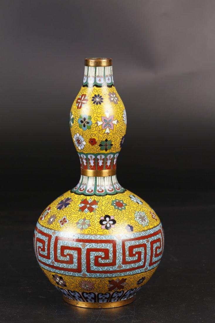 Antique Cloisonne Gourd-Shape Vase.