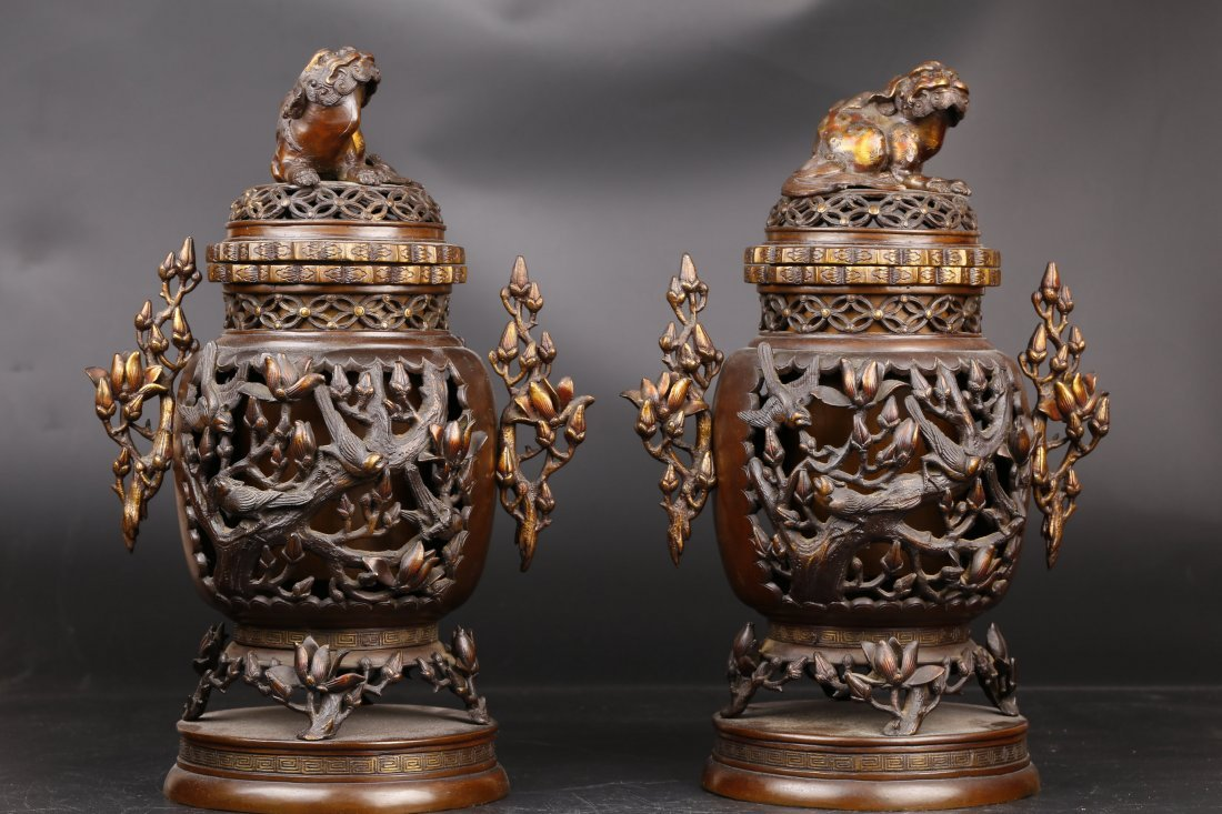 A Pair of Antique Bronze Censers.