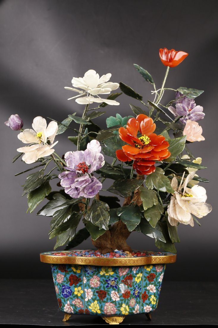 Cloisonne Flower Bonsai W/ Jade.