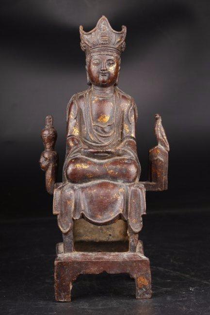 A Celadon Jade Carved GuanYin Display