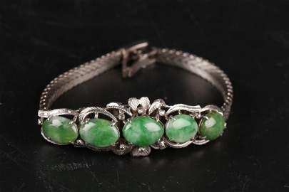 Natural Waxy Icy Jadeite Bracelet W/ Silver Chain.
