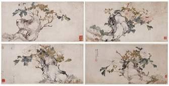 A Set Of Four Original Paintings By Ju Lian (1826-1904)