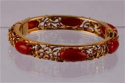 A Victorian natural red coral 6 cabochons hinged 18k