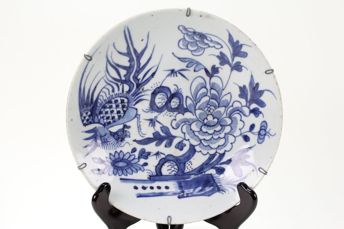 004: Chinese blue and white deep garden plate