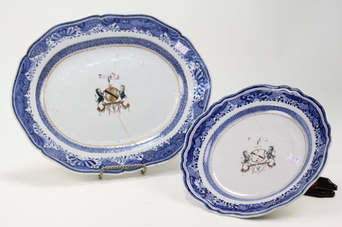 008: Two export Chinese 18th century Armorial dishes