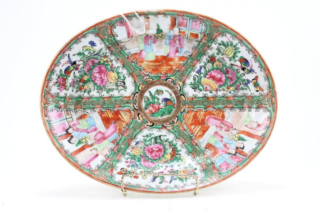 011: Fine Canton rose oval plate