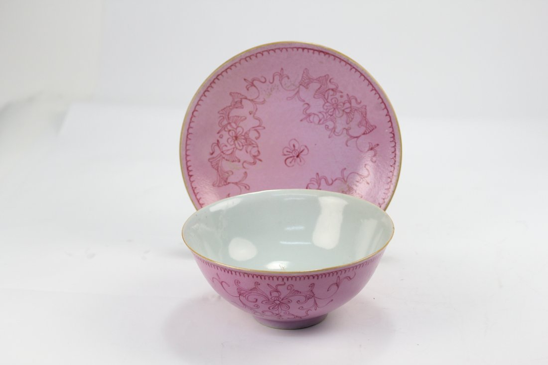 016: Pink and red color flower disc and bowls