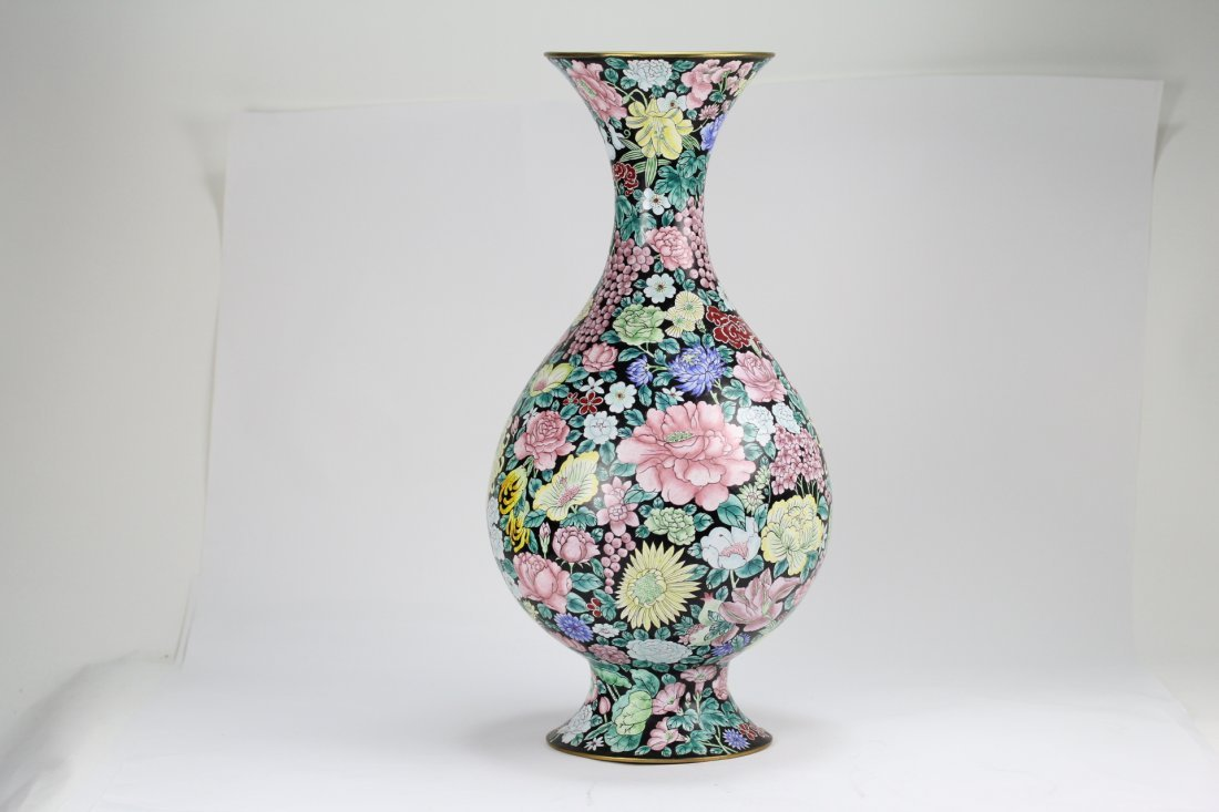020: Antique enamel bronze vase