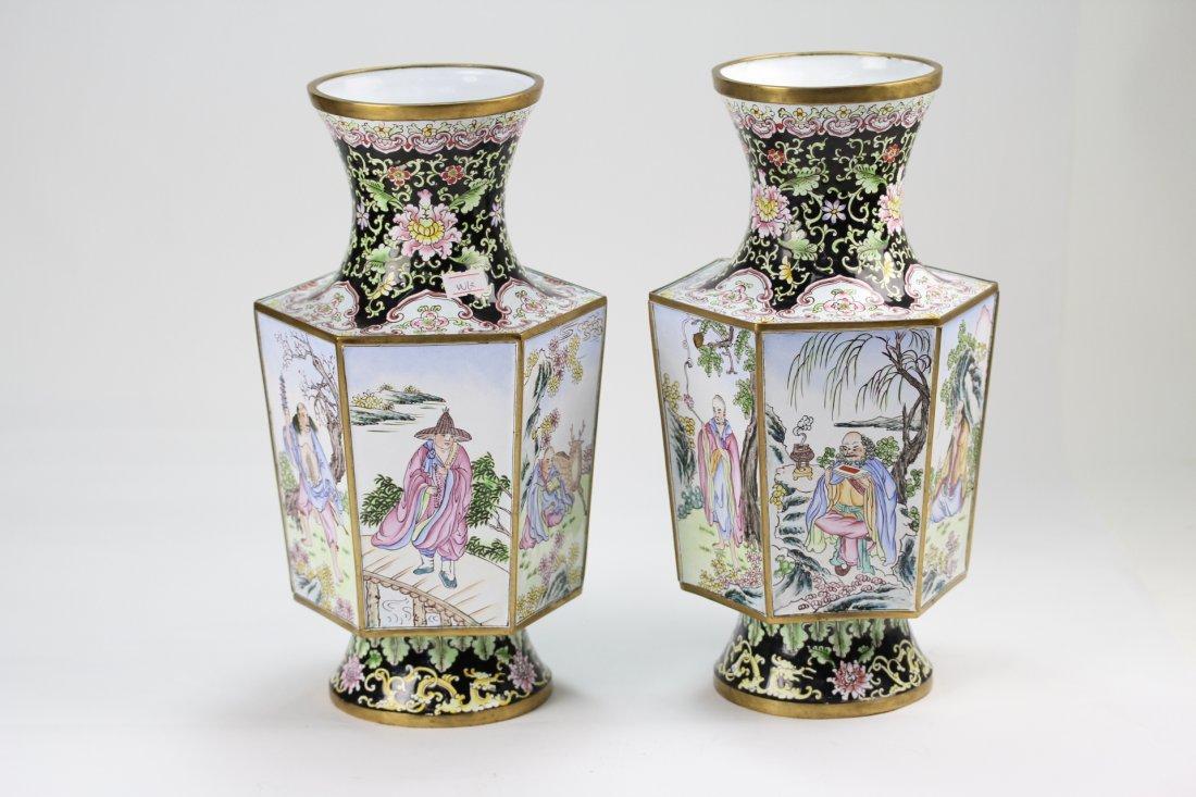 023: Pair of very fine enamel bronze hexagon vases