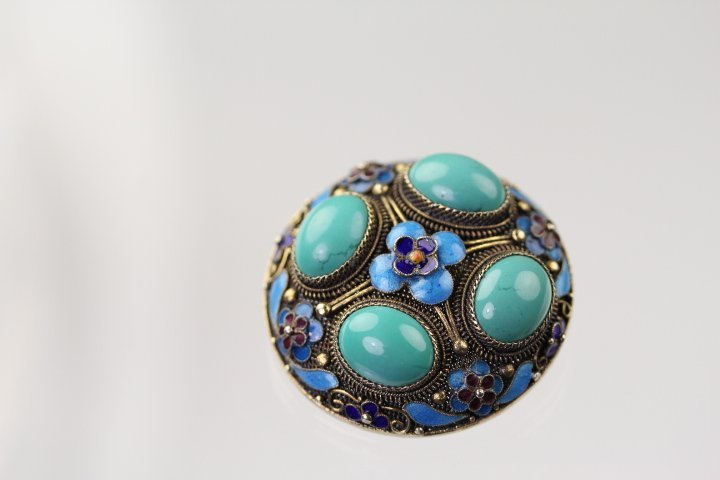 VERY FINE SILVER ENAMELED TURQUOISE CORSAGE