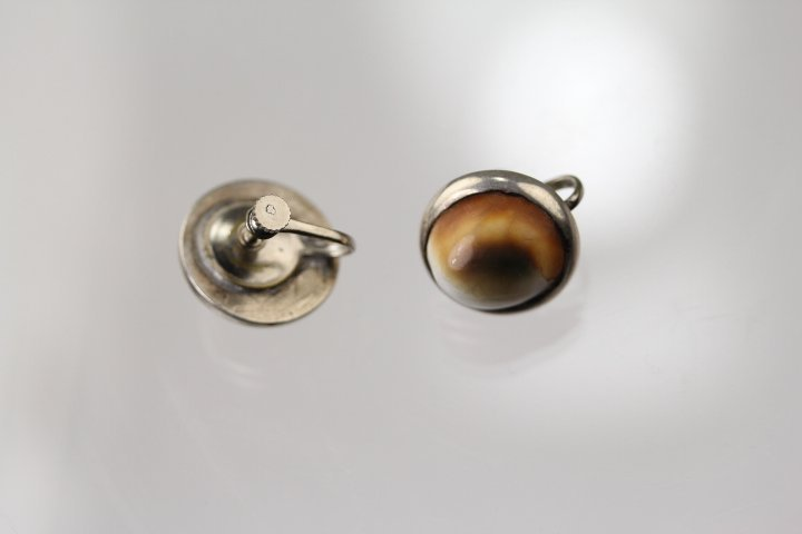 SILVER INSERTED CAT'S EYE SHELL JEWELRIES - 5