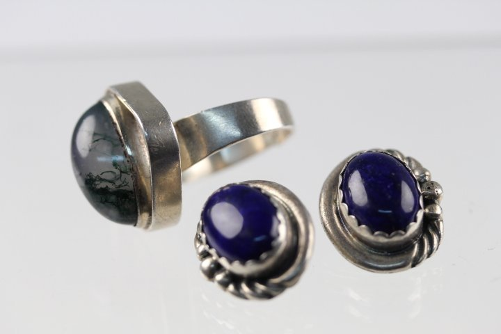 OLD AQUATIC AGATE & LAPIS EMBEDDED TREMELLA RINGS