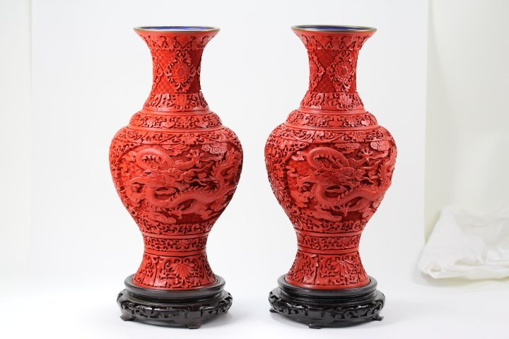 CARVED CINNABAR VASES WITH WOOD BASES (PAIR)