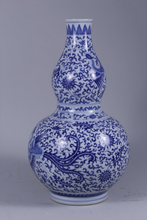 CHINESE BLUE & WHITE PORCELAIN DOUBLE GOURD VASE