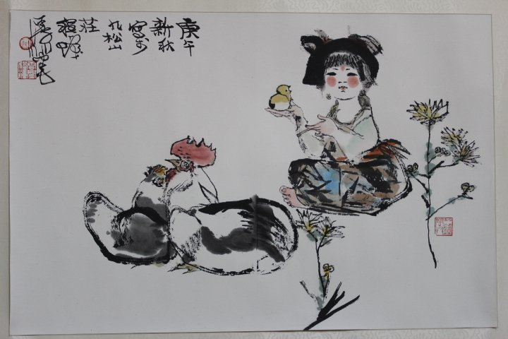 CHINESE WATER COLOR HAND-PAINTED PICTURE