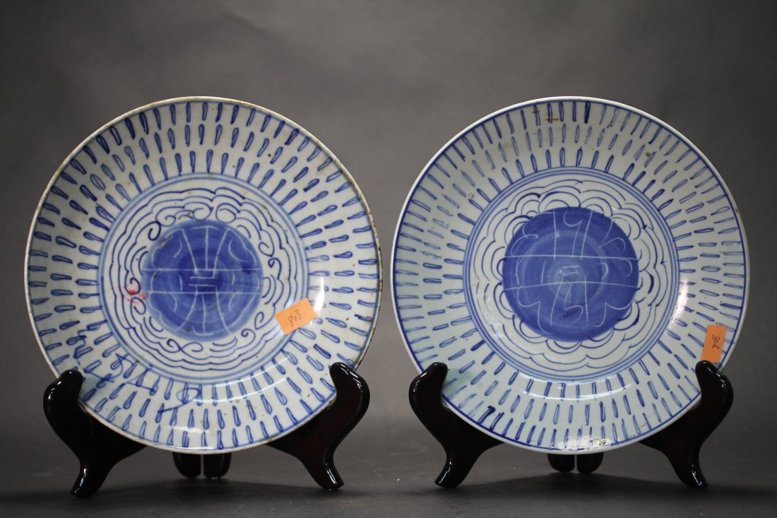 PAIR OF BLUE AND WHITE PORCELAIN PLATES